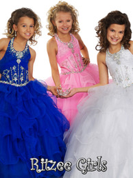 Robes De Taille Plus En Cendrillon Pas Cher-Coloré Lovely Cinderella Girls Homeing s'habille Halter Backless Organza Mode Charme Beading Robe de bal Flower Girls Dress Plus taille