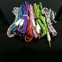 kurşun krikolar toptan satış-3.5mm Ses AUX Araba Uzatma Kablosu Örgülü Dokuma tel Yardımcı Stereo Jack Erkek 1 m 3ft Samsung HTC için Kurşun Hoparlör