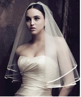 Wholesale Tulle Blusher Flower - Free Shipping Beautiful Cheap Short One layer Satin Edge Tulle White Ivory Hot Bridal Wedding Veil