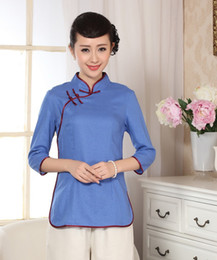 Wholesale Womens Chinese Blouses - Free shipping Casual Top Quality linen Chinese Traditional womens tops Blouse Shirt Half Sleeve Blouse Shirt A0071