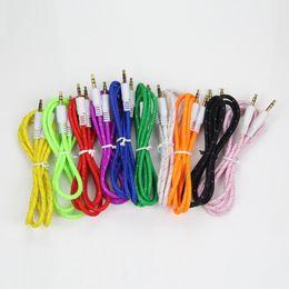 Conector de 3,5 mm online-3.5mm cable de audio estéreo AUX cable trenzado de tela tejida Cables auxiliares Jack macho a macho M M 1m 3 pies de plomo para el teléfono móvil Samsung