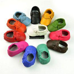 Wholesale Plastic Baby Walker - In Stock Multy Color Baby Prewalker Real Leather Ruffles Shoes Toddler Infants Kids Boys Girls Antiskid Shoes Moccasin First Walker H1394