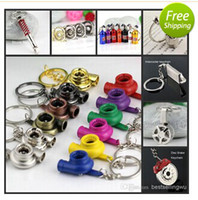 Stainless Steel spinning gear ring - Fashion Keychain Auto Parts Model Spinning New Charming Turbo NOS Gear Knob Absorber Piston Brakes Key Chain Ring Keyring Keyfob
