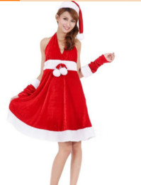 Wholesale Santa Costumes Woman - Wholesale Christmas Gift Sex Christmas Clothing Holiday Acting Clothes Sex Dress + Hat + Gloves Free Size c9