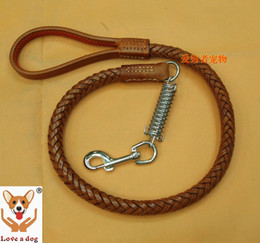 Wholesale Types Leather Harness - Wholesale-20mm diameter luxury strong leather dog leashes buffer type free shipping