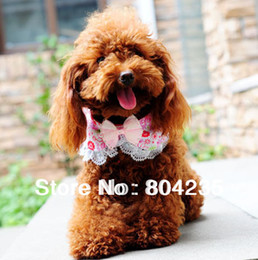 Wholesale Dog Bandana Collar L - Wholesale-Hot sale!Wholesale 5pcs lot S M L luxury lace butterfly tie blingbling pet dog scarf,dog bandana,dog cat collar with jingle bell