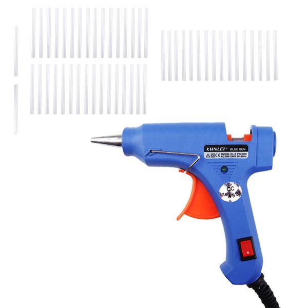 Pistola de pegamento caliente para calentador de alta temperatura XL-E20 20W Práctico profesional con 20 barras de pegamento Injerto Reparación Calor Ggun Herramientas neumáticas eléctricas