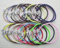 zincir avrupa aşkı toptan satış-24 adet / grup gümüş kaplama toka ile aşk mektubu 16-22 cm moda pu deri takı zincirleri Avrupa DIY bilezik mix renk