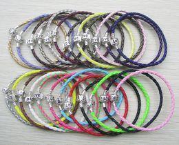 Wholesale Bracelet 24pcs - 24pcs lot silver plated clasp with love letter 16-22cm fashion pu leather jewelry chains European DIY bracelet mix color