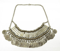 Wholesale Ethnic Tribal Necklace - Golden Silver Zamac Jewelry Handcraft Carving Metal Coin Fringe Statement Necklace Boho Gypsy Beachy Ethnic Tribal Jewelry Turkish