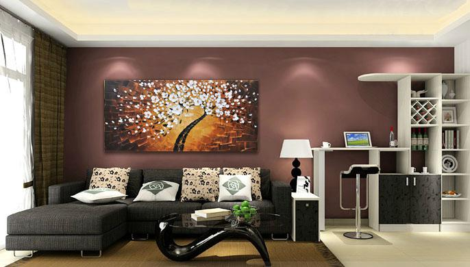 Red Wight Plum Flower Hand Painted Canvas Knife Oil Painting High Quality Home Decorative Modern Painting Thick Texture JL112