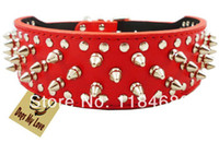 Wholesale Cheap Spiked Collars - Wholesale-Free Shipping Red Cheap 100% Guarantee Spiked Studded PU Leather Dog Collars