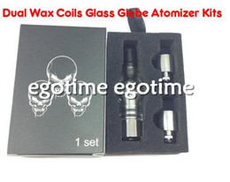 Wholesale Heat Rod - 2015 Glass Globe cax wax vaporizer atomizer for wax and herbs Glass Tank Cannon wax dual coil double coils ceramic Rod heating atomizer