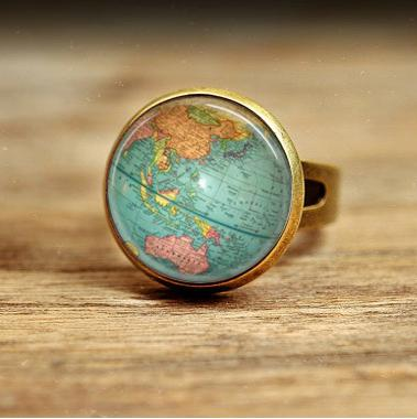 Silver Rings Vintage Globe Ring Planet Earth World Map Art Map Ring Free  Shipping Glass Dome