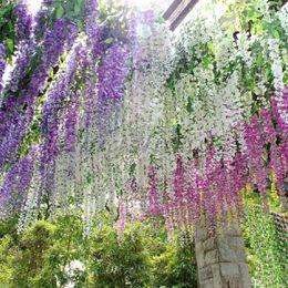 Wholesale Hanging Vines Garden - Wholesale-Hot Sale Artificial Flower Wisteria Home Garden Hanging Flowers Vine Wedding Plant Decor Drop Shipping HG-091984