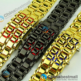 Wholesale Wristwatches Metal Women - New Fashion Men Women Lava Iron Samurai Metal LED Faceless Bracelet Watch Wristwatch for Men
