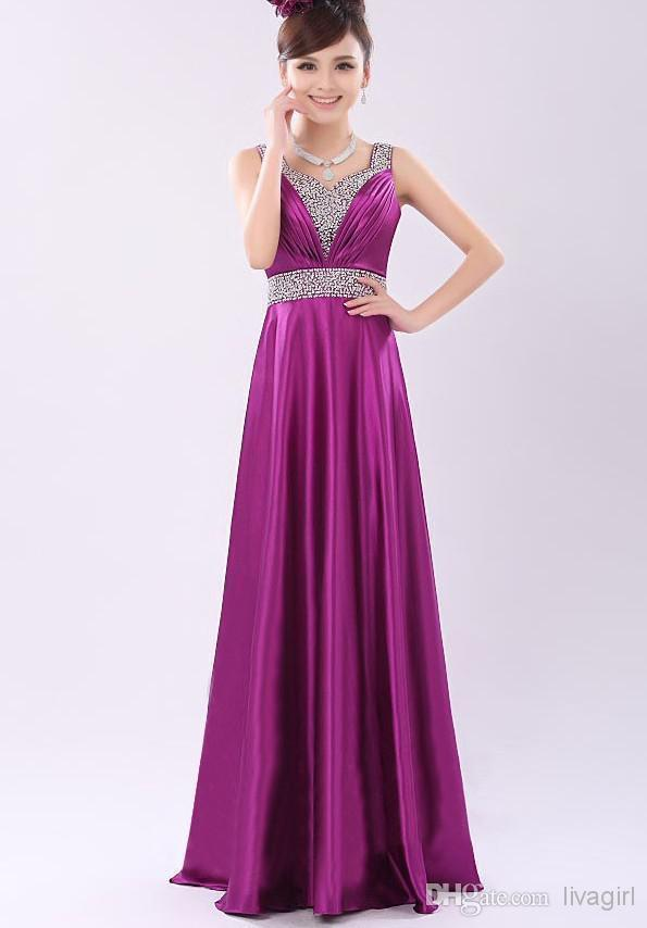 2017 New Satin Long Women Bridesmaid Dresses Prom Maxi Gown Evening ...
