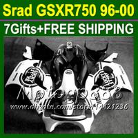 Wholesale Lucky Strike 96 Gsxr - Lucky Strike Black white 7gifts+Fairing For SUZUKI GSXR 750 1996 1997 1998 1999 2000 GSX-R750 MPR280 GSXR750 GSXR-750 SRAD 96 97 98 99 00