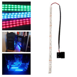 Wholesale Self Adhesive Led Lighting - 60cm 5050SMD LED PC Computer Case Strip Light Self-adhesive Red Blue Green # 49842
