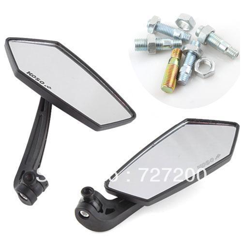 1 Pair Rear View Mirror Motorcycle Handlebars Street Bike Side #7901