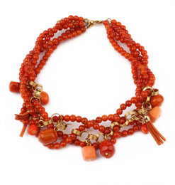 Wholesale Italian Beaded Necklace - New 2014 Luxury Italian Design High Quality Fashion Accessories Handmade Coral Red Bead Vintage Bead Necklace Women Gift