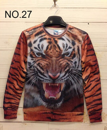 Wholesale New Design Sweaters Men - new autumn print Pullovers mens hoodies Sweaters 3D Sweatshirt women's Sweatshirts men's T Shirt 100 design choose tiger