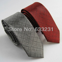 "Wholesale Burgundy Necktie - Wholesale-2pcs of 2"" polyester Thin Burgundy Red & Dark Gray SLIM tie Solid Color NARROW Grey SKINNY tie Fashion necktie For men brand"