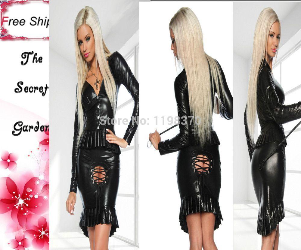 2017 Fantasia Sexy Lingerie Suit Women Black Faux Leather Tight ...