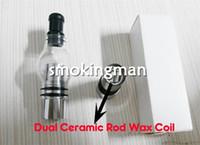 Wholesale vase pen online - 2014 Glass globe atomizer pyrex glass tank Dual Wax Rod Coil Wax dry vaporizer pen vapor Cax Metal Vase electronic cigarette atomizer