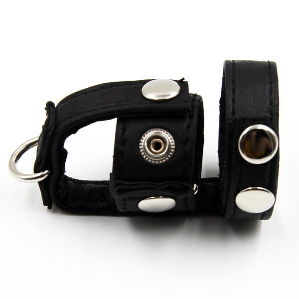 PVC Leather Ball Stretchers Fetish Bondage Gear D-Ring CBT Testicle Stretcher Add Weigth Balls