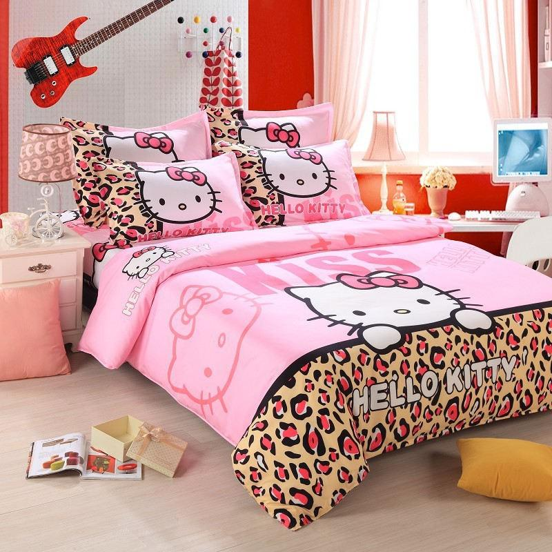 Home textiles bedclothes,Child Cartoon pattern,Hello kitty bedding sets include duvet cover bed sheet pillowcase,