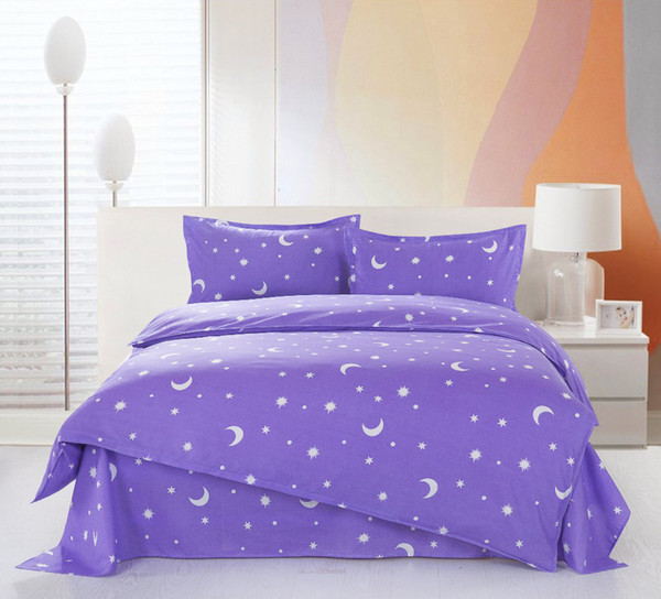 Purple Stars moon 4Pcs of bedding sets luxury include Duvet Cover Bed sheet Pillowcase,bedclothes,Home textile,Free shipping