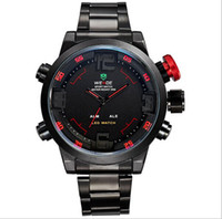 Wholesale Led Display Strip - Weide Men Sports Watches multifunctional waterproof LED double display men's movement stainless steel strip WA0055