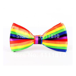 Wholesale Printing Items - Wholesale-4pcs lot rainbow colour striped bow tie colorful peace lesbian gay pride items