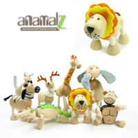 Wholesale Wooden Toy Joints - Anamalz Wooden Animal Dolls Baby Toys Movable Joints Elephant Robot Educational Dolls 24 Animals For Choose Birthday Gift