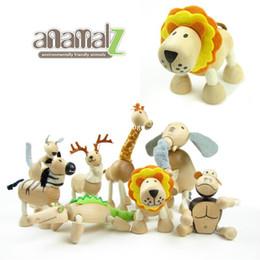 Wholesale Anamalz Toys - Anamalz Wooden Animal Dolls Baby Toys Movable Joints Elephant Robot Educational Dolls 24 Animals For Choose Birthday Gift