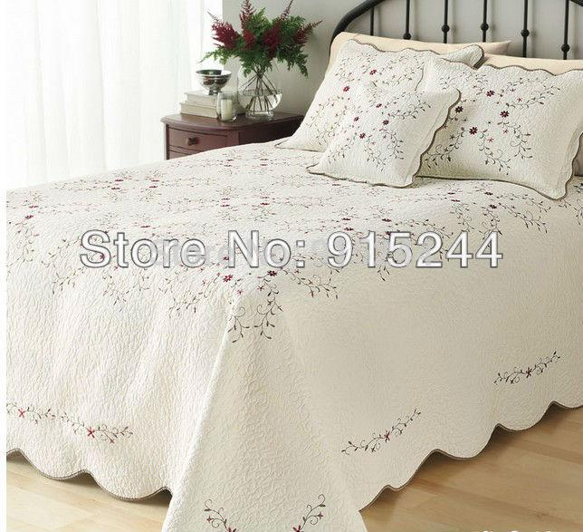Beige embroidery quilts king size230 250cm cotton quilting handmade bedspread cool summer - Couvre lit broderie florale ...