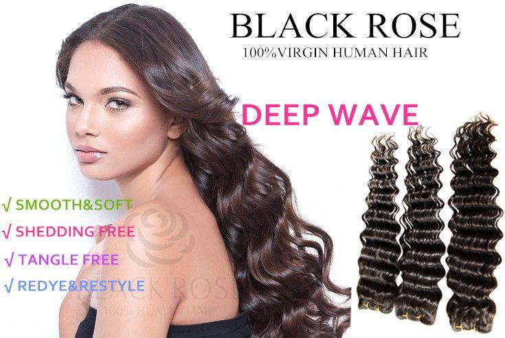 Virgin Brazilian Hair Weave Styles: Brazilian Deep Wave Virgin Hair Curly Weave Black Braided
