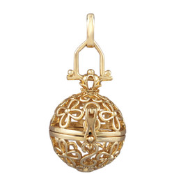 Wholesale Silver Harmony Ball Necklace - 5 pcs lot 18K Gold locket Pendant Jewelery Mexican Bola Pendant harmony bola ball cage pendant pregnancy gift H055