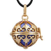 Wholesale Harmony Bell Chime - Harmony bola 18k gold with crystals cage Mexican bola baby chime ball Musical bell harmony bola ball locket pendant necklace H117