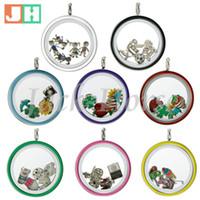 Wholesale Enamel Color Necklace - Water Proof 30mm screw locket mixed color 316L stainless steel locklet enamel floating locket pendant