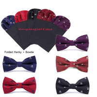 Wholesale Silk Wholesale Men Tie Sets - Mens Bowtie Bow Tie + Hanky Set Pre-tied Adjustable Skull Embroidery Bow Tie And Hanky on Card Fashion Accessories Free Shipping MOQ : 5 pcs