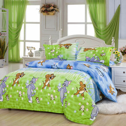 Wholesale Queen Pillowcases - Tom and Jerry pattern bedding sets luxury,Include Duvet Cover Bed sheet Pillowcase,King queen full size,Free shipping