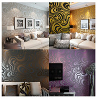 feuerfeste farbe für holz großhandel-Hohe qualität 0,7 mt * 8,4 mt Moderne Luxus 3d wallpaper rolle wandbild papel de parede beflockung für gestreiften tapeten 5 farbe R136