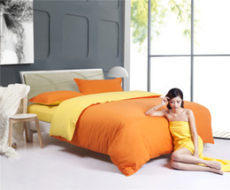 Wholesale Bedding Comforters Orange - NEW--Home textiles,orange yellow bedding sets include comforter cover bed sheet pillowcase,linen,bedclothes,Free shipping