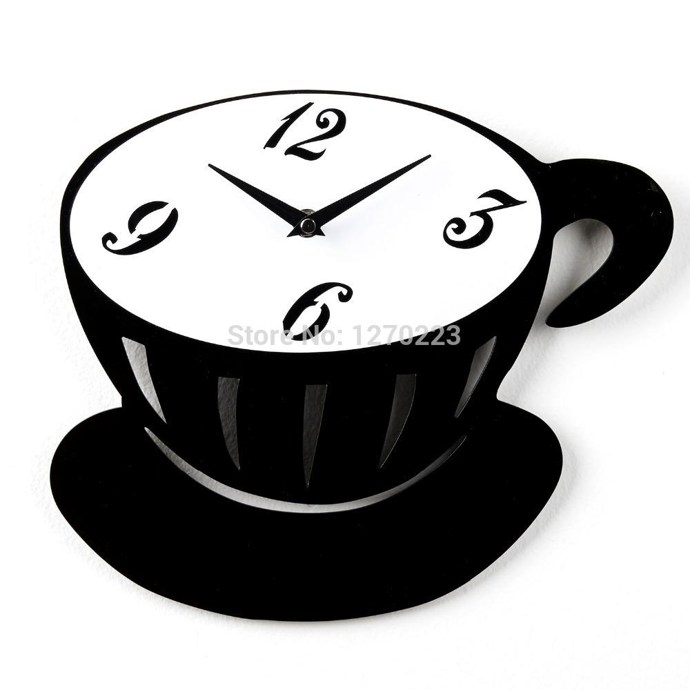 Coffee Cup Black And White Wall Clock Best Creative Home ...