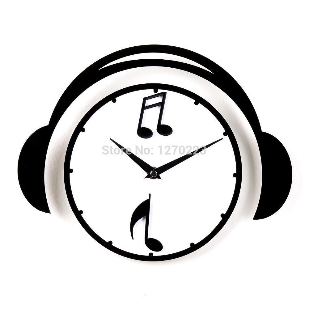 Music headphones wall clock best creative home decor cute clock see larger image amipublicfo Images
