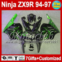 Wholesale Zx9r 1994 Customized - 7gifts For KAWASAKI NINJA ZX9R 94 95 96 Green flames 97 ZX 9R 9 R MC15197 Customize Body ZX-9R Black green 94-97 1994 1995 1996 1997 Fairing