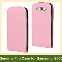 Wholesale Elegant Case S3 - Wholesale Elegant Genuine Leather Flip Cover Case for Samsung Galaxy SIII S3 i9300 with Magnetic Snap 10pcs lot Free Shipping