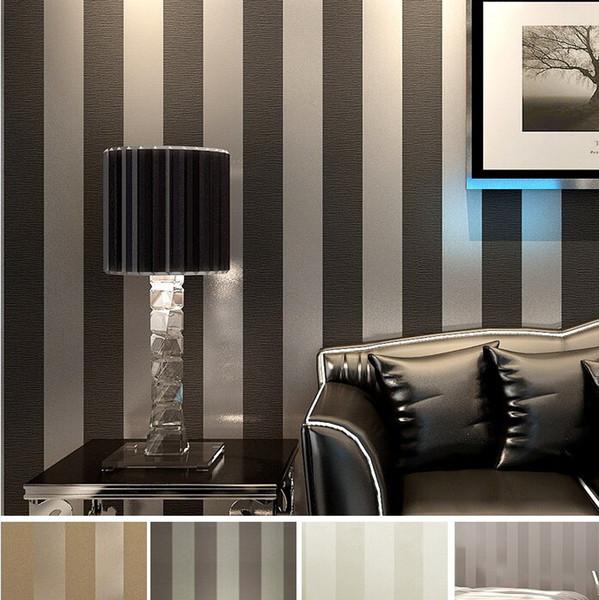 Moderne schwarze Tapeten-gestreifte purpurrote und silberne Funkeln-Tapetenrolle für Wand-Wohnzimmer Schlafzimmer Fernsehsofehintergrund R103